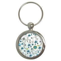 Blue Whimsical Flowers  On Blue Key Chain (round) by Zandiepants