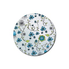 Blue Whimsical Flowers  On Blue Drink Coaster (round) by Zandiepants