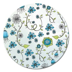 Blue Whimsical Flowers  On Blue Magnet 5  (round) by Zandiepants