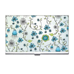 Blue Whimsical Flowers  On Blue Business Card Holder by Zandiepants