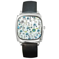 Blue Whimsical Flowers  On Blue Square Leather Watch by Zandiepants