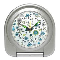 Blue Whimsical Flowers  On Blue Desk Alarm Clock by Zandiepants