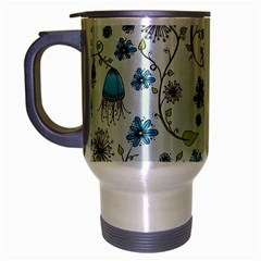 Blue Whimsical Flowers  On Blue Travel Mug (silver Gray) by Zandiepants