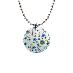 Blue Whimsical Flowers  On Blue Button Necklace by Zandiepants