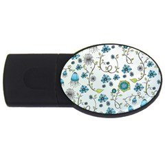 Blue Whimsical Flowers  On Blue 4gb Usb Flash Drive (oval) by Zandiepants