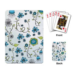 Blue Whimsical Flowers  On Blue Playing Cards Single Design by Zandiepants