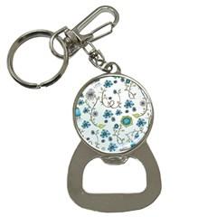 Blue Whimsical Flowers  On Blue Bottle Opener Key Chain by Zandiepants