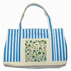 Blue Whimsical Flowers  On Blue Blue Striped Tote Bag by Zandiepants