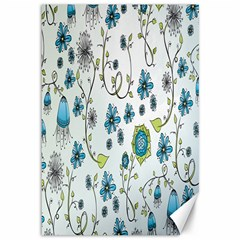 Blue Whimsical Flowers  On Blue Canvas 12  X 18  (unframed) by Zandiepants