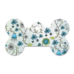 Blue Whimsical Flowers  On Blue Dog Tag Bone (one Sided) by Zandiepants