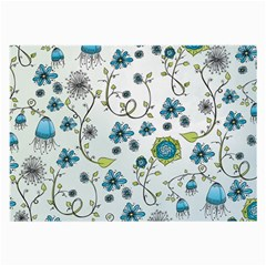 Blue Whimsical Flowers  On Blue Glasses Cloth (large) by Zandiepants