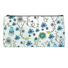 Blue Whimsical Flowers  On Blue Pencil Case by Zandiepants