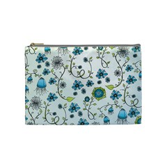 Blue Whimsical Flowers  On Blue Cosmetic Bag (medium) by Zandiepants