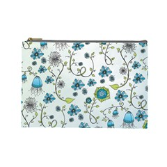 Blue Whimsical Flowers  On Blue Cosmetic Bag (large) by Zandiepants