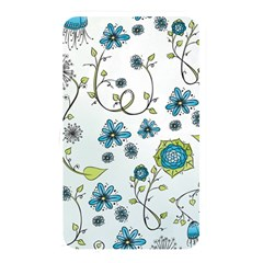 Blue Whimsical Flowers  On Blue Memory Card Reader (rectangular) by Zandiepants