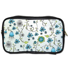 Blue Whimsical Flowers  On Blue Travel Toiletry Bag (two Sides) by Zandiepants