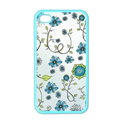 Blue Whimsical Flowers  On Blue Apple Iphone 4 Case (color) by Zandiepants