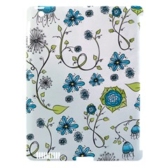Blue Whimsical Flowers  On Blue Apple Ipad 3/4 Hardshell Case (compatible With Smart Cover) by Zandiepants