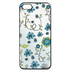 Blue Whimsical Flowers  On Blue Apple Iphone 5 Seamless Case (black) by Zandiepants