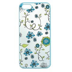Blue Whimsical Flowers  On Blue Apple Seamless Iphone 5 Case (color) by Zandiepants