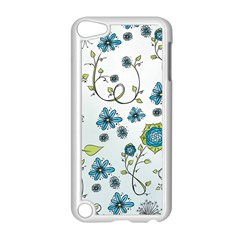 Blue Whimsical Flowers  On Blue Apple Ipod Touch 5 Case (white) by Zandiepants