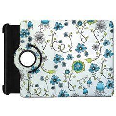 Blue Whimsical Flowers  On Blue Kindle Fire Hd 7  (1st Gen) Flip 360 Case by Zandiepants