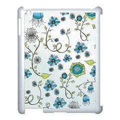 Blue Whimsical Flowers  On Blue Apple Ipad 3/4 Case (white) by Zandiepants