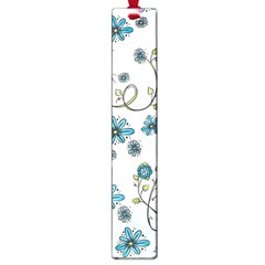 Blue Whimsical Flowers  On Blue Large Bookmark by Zandiepants