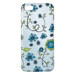 Blue Whimsical Flowers  On Blue Apple Iphone 5 Premium Hardshell Case by Zandiepants