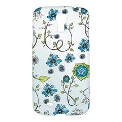 Blue Whimsical Flowers  on blue Samsung Galaxy S4 I9500/I9505 Hardshell Case by Zandiepants