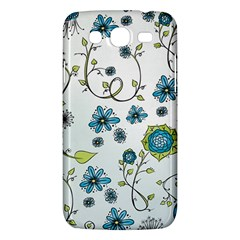 Blue Whimsical Flowers  On Blue Samsung Galaxy Mega 5 8 I9152 Hardshell Case  by Zandiepants