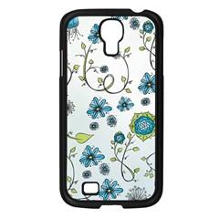 Blue Whimsical Flowers  On Blue Samsung Galaxy S4 I9500/ I9505 Case (black) by Zandiepants