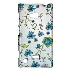 Blue Whimsical Flowers  On Blue Nokia Lumia 720 Hardshell Case by Zandiepants