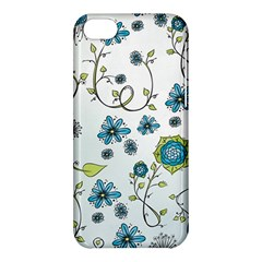 Blue Whimsical Flowers  On Blue Apple Iphone 5c Hardshell Case by Zandiepants
