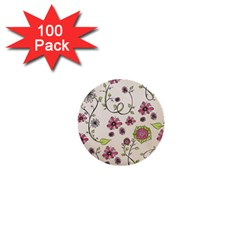 Pink Whimsical Flowers On Beige 1  Mini Button (100 Pack) by Zandiepants