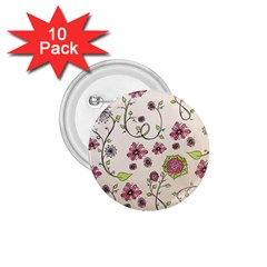 Pink Whimsical Flowers On Beige 1 75  Button (10 Pack) by Zandiepants