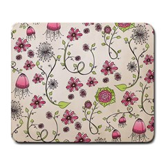 Pink Whimsical Flowers On Beige Large Mouse Pad (rectangle) by Zandiepants