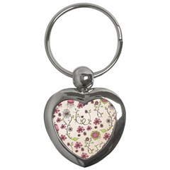 Pink Whimsical Flowers On Beige Key Chain (heart) by Zandiepants