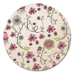 Pink Whimsical Flowers On Beige Magnet 5  (round) by Zandiepants