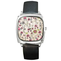 Pink Whimsical Flowers On Beige Square Leather Watch by Zandiepants