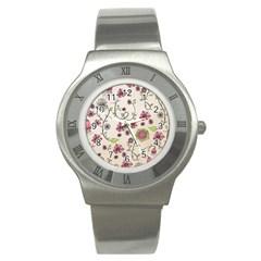 Pink Whimsical Flowers On Beige Stainless Steel Watch (slim) by Zandiepants
