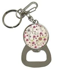 Pink Whimsical Flowers On Beige Bottle Opener Key Chain by Zandiepants