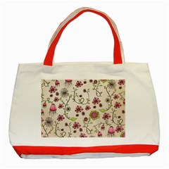 Pink Whimsical flowers on beige Classic Tote Bag (Red) by Zandiepants