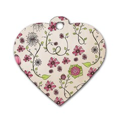 Pink Whimsical flowers on beige Dog Tag Heart (One Sided)  by Zandiepants