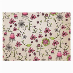 Pink Whimsical Flowers On Beige Glasses Cloth (large) by Zandiepants