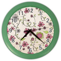 Pink Whimsical Flowers On Beige Wall Clock (color)