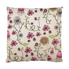 Pink Whimsical Flowers On Beige Cushion Case (two Sided)  by Zandiepants