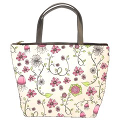 Pink Whimsical Flowers On Beige Bucket Handbag by Zandiepants