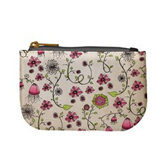 Pink Whimsical flowers on beige Coin Change Purse by Zandiepants