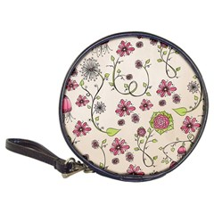Pink Whimsical flowers on beige CD Wallet by Zandiepants
